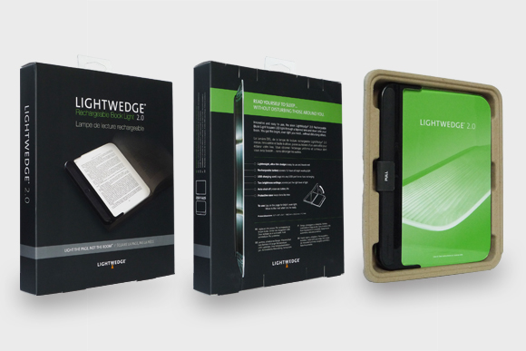 LightWedge 2.0 packaging: front, back, and interior views