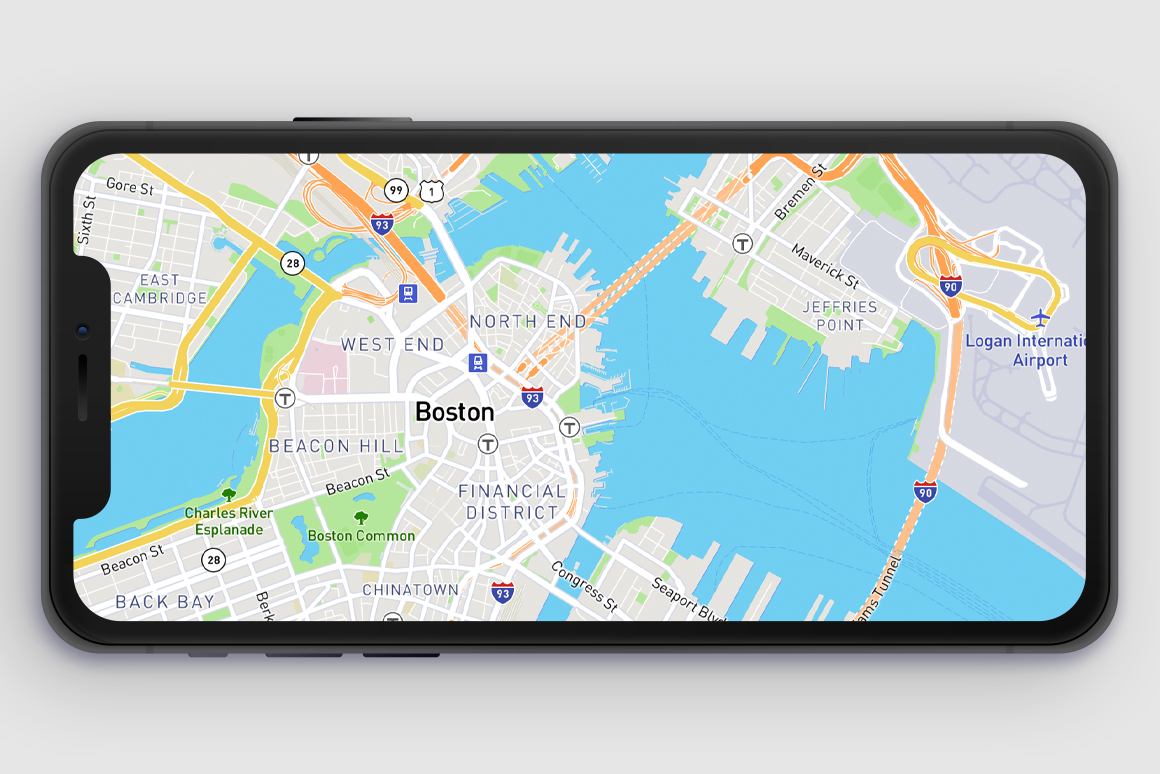 Mapbox Streets interactive basemap: shown on mobile