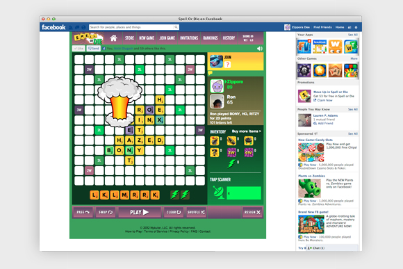 Spell or Die game: shown in web browser