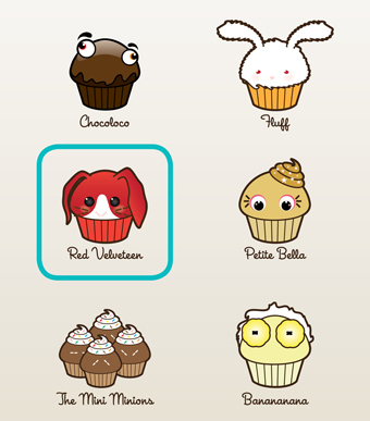 Close up of cupcake avatars
